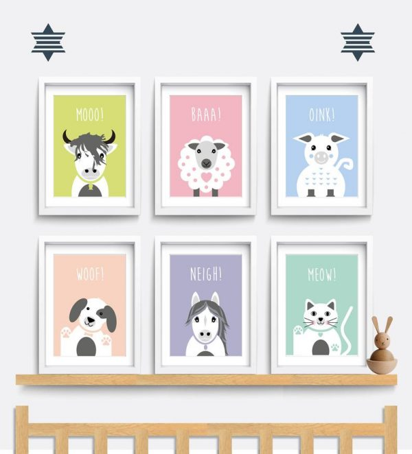 set of six nursery prints