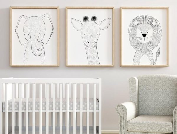 Black and White Animal Safari Nursery Prints