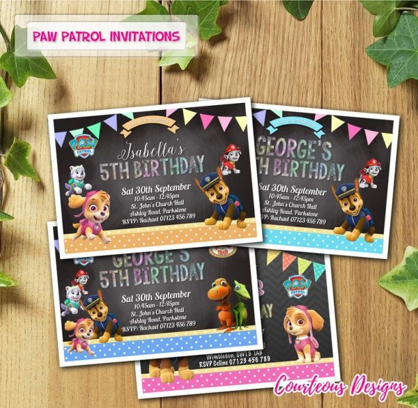 Paw Patrol children party invitations