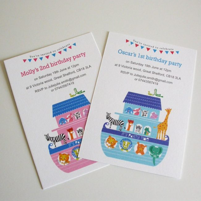 Noah's ark themed children's party invitations