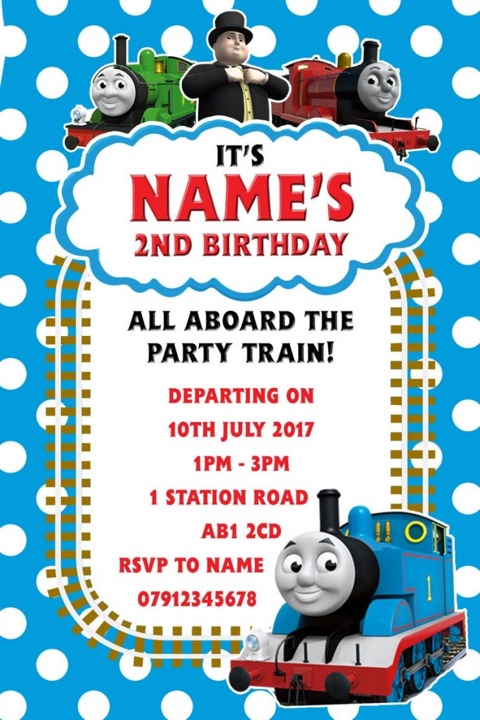 Thomas the Tank themed children's birthday invitations