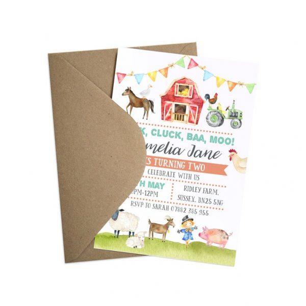 Farm themed children's invitation