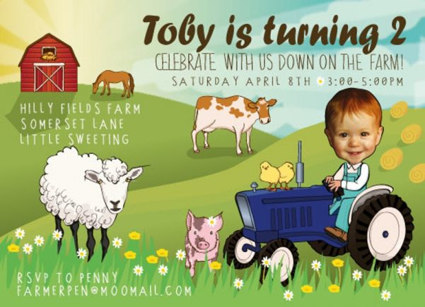 Farm themed party invitation with tractor