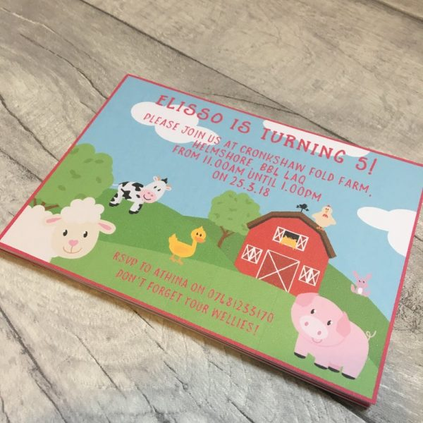 Farm themed party invitations with animals