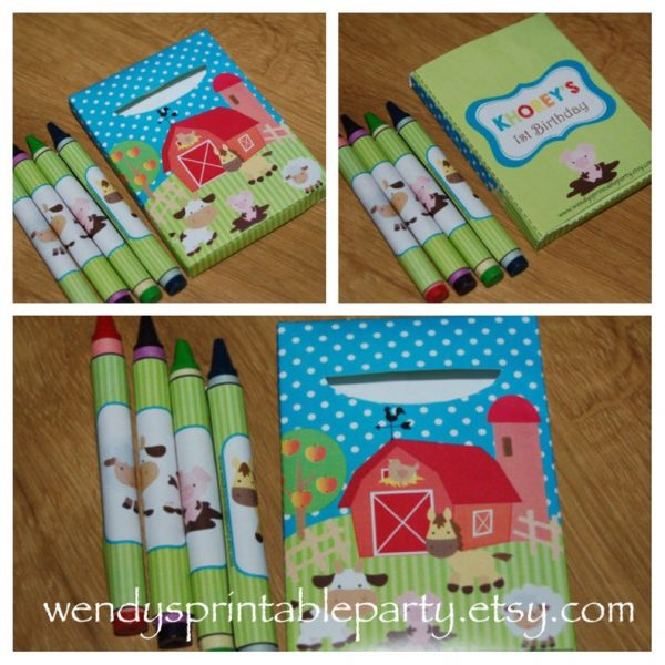 Farm themed crayons for a kids birthday party