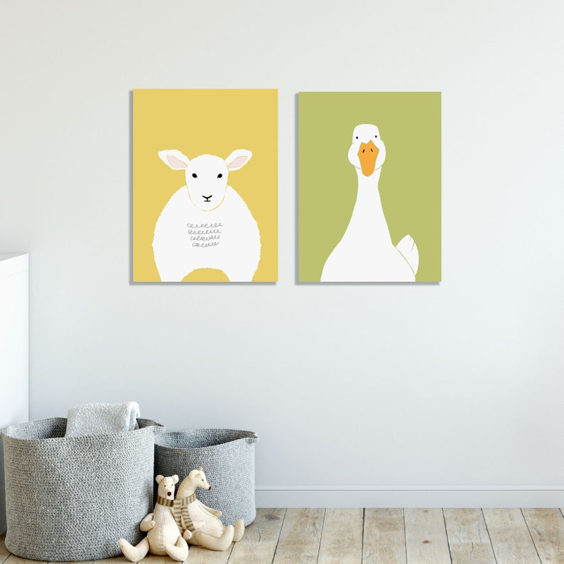 Sheep and Goose Print for a nursery