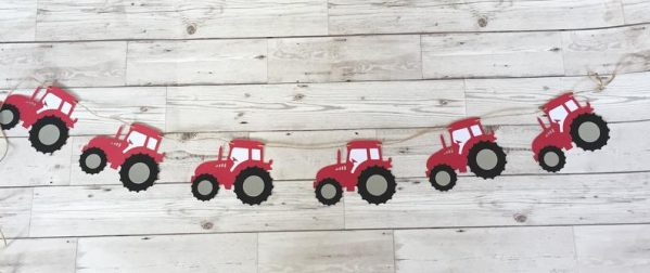 Tractor bunting for a farm themed children's party